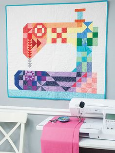Sewing machine quilting - This Colorful Quilt is Perfect for the Sewing Room – Sewing machine quilting Sewing Machine Quilt Block, Machine À Quilter, Colorful Quilts, Small Quilts, Mini Quilts, Quilting Room, Quilting Projects, Quilting Designs, Quilting Ideas