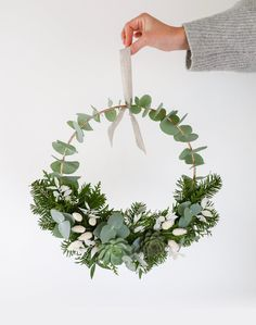 Christmas wreath - Christmas Collection 2018 – Crown made of Echeveria, Eucalyptus Cinéréa, White Phalaris, Fir, W - Christmas Flowers, Black Christmas, Winter Christmas, Christmas Time, Christmas Wreaths, Christmas Crafts, Holiday, Christmas Table Centerpieces, Xmas Decorations