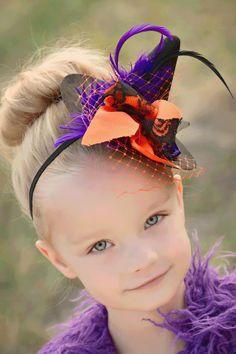 Little Matilda Witch Hat Halloween Costume Hair piece Headband Black and Orange