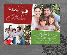 Custom Photo Christmas Card  Two Photo Modern by WolcottDesigns This is a DIY Printable Card. $12.00 unlimited prints