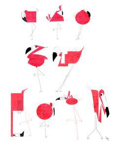 "hannahsdelight: "" Character Design homework! Flamingo Shapes"