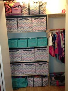 Organized Closet using Thirty-One's Your Way Cubes, Your Way Rectangles & Large Utility Totes. Love it.