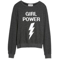 Women's Dream Scene Girl Power Sweatshirt found on Polyvore featuring tops, hoodies, sweatshirts, black, graphic tops, graphic print top, graphic print sweatshirts, pullover sweatshirt and graphic pullover sweatshirts