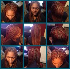 Small Two-Toned Box Braids w/ Burned Ends