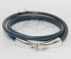 Rich Blue Leather Wrap Bracelet with Silver hook clasp. Approx. 6.5 inches by OllieBooJewelry on Etsy