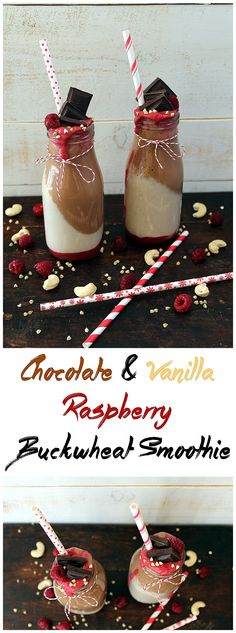 Chocolate & Vanilla Raspberry Buckwheat Smoothie - http://veganhuggs.com/chocolate-vanilla-raspberry-buckwheat-smoothie/