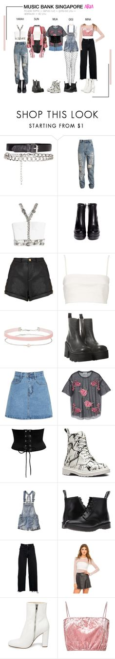 """""""ARIA (아리아) Music Bank Singapore"""" by ariaofficial ❤ liked on Polyvore featuring Ashish, Robert Clergerie, Topshop, Witchery, Miss Selfridge, UNIF, MANGO, Dr. Martens, Abercrombie & Fitch and RE/DONE"""