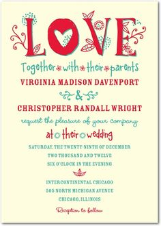 Red and teal wedding invitation