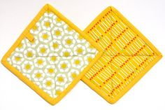 Pot holders hot pads  Bright gold color by ManyCharmedTreasures