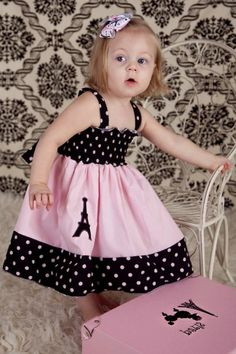 Custom Boutique girls Eiffel Tower Paris dress size 18 months to 12 years Sewing For Kids, Baby Sewing, Baby Dress Design, Baby Frocks Designs, Baby Dress Patterns, Kids Frocks, Girls Boutique, Girl Doll Clothes, Little Girl Dresses