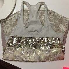 EXPRESS Lace and sequin tank Adorable tank! With silver sequins, white lace and grey in color Express Tops Tank Tops