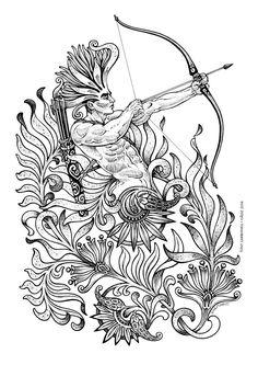 Sagittarius zodiac : Sagitario, #Dibujos e #Ilustraciones #Illustrations de Tony…