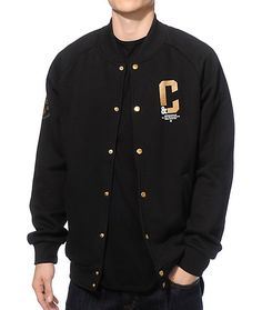Update your outfits with a unique fleece line snap button body for comfort with gold and white Crooks & Castles logo graphics at the left chest, back, and on the right sleeve.