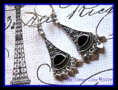 Handcrafted Bali Sterling Silver Silver & Black Onyx Dangle Earrings w/ Fringe #DropDangleArtisanHandcrafted