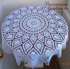 Heklet duk - arbeidet til Valentina Litvinova Free Crochet Doily Patterns, Crochet Art, Crochet Round, Crochet Home, Thread Crochet, Crochet Designs, Crochet Doilies, Mantel Redondo A Crochet, Crochet Tablecloth Pattern