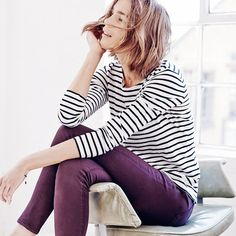 Make a black and white striped shirt pop against a pair of colored denim.