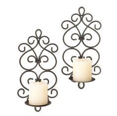 scrollwork wall sconce set brown candle