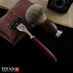 1 Razor  1 Shaver Brush  1 Bag Men Shaving Kit Safety Razor Double Edge Barber Razor Classic Wood Handle Slivertip Beard Brush | #BeardGrooming #Sets #Brushes