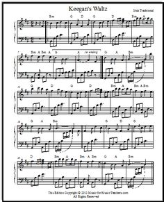 Irish Piano Sheet Music Keegan's Waltz for Intermediate Piano