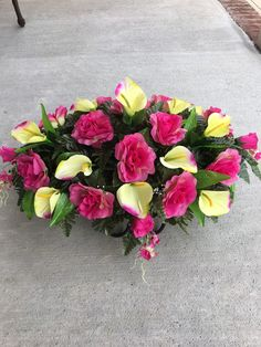 Cemetery Flowers~Memorial Flowers~Calla Lilies~Roses~Headstone Flowers~Tombstone Saddle~Cemetery Saddle~Grave Decoration~In Loving Memory Grave Flowers, Cemetery Flowers, Silk Roses, Silk Flowers, Cemetery Decorations, Memorial Flowers, Fruit Arrangements, Floral Foam, Calla Lily