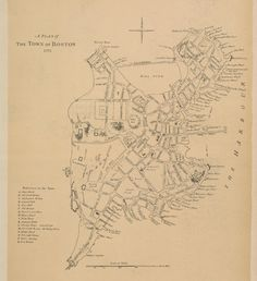 1775 #Boston town plan #map from the Atlas of the Historical Geography of the #USA