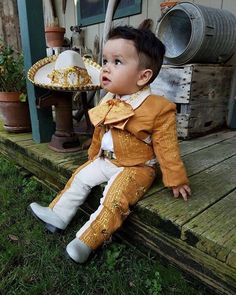 """They tell of Kino, the fisherman and of his wife Juana and of the baby Coyotito"" Boy Baptism Outfit, Baby Baptism, Baptism Ideas, Mexican Outfit, Mexican Dresses, Baby Boy Fashion, Kids Fashion, Charro Outfit, Baby Boy Outfits"