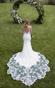 Mermaid Wedding Dresses 1025 Botanical Lace Wedding Dress with Shaped Train by Martina Liana - A modern update to traditional lace, this botanical lace detailed wedding dress with shaped train is the perfect balance of sexy and romantic. Western Wedding Dresses, 2016 Wedding Dresses, Designer Wedding Dresses, Bridal Dresses, Dresses 2016, Sheath Wedding Gown, Wedding Gowns With Sleeves, Martina Liana, Mermaid Wedding