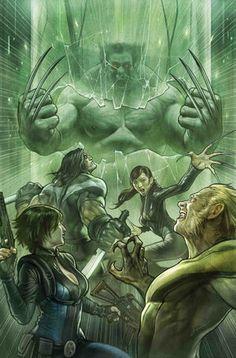 """Totally_Awesome_Hulk_Vol_1_22 ARMAS DE DESTRUCCIÓN MUTANTE"""" ¡PARTE SEIS! ¡Los científicos de la cabeza del programa Weapon X han completado su magnum opus! Ahora BATCH H está despierto, y es LOCO COMO INFIERNO."""