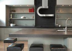 "#Kitchen of the Day: Modern gray kitchen with a unique ""Shelf"" hood (via BEST Hoods, BestHoods.co.uk, Kitchen-Design-Ideas.org)"