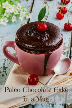 you switch to a Paleo lifestyle, chocolate is not necessarily on the list of Paleo approved foods and neither is cake. with a few substitutions we can still satisfy our chocolate craving with something like this Paleo Chocolate Cake in a Mug Recipe. Banana Com Chocolate, Paleo Chocolate Cake, Chocolate Mug Cakes, Delicious Chocolate, Chocolate Desserts, German Chocolate, Healthy Chocolate, Chocolate Packaging, Flourless Chocolate