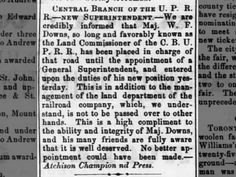 Maj. Downs to assume the super. reign  for the CBUP. Rpt. fr Atchison Daily Champion 4 Oct 1868 2