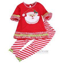 Kids Baby Girl clothes Santa Christmas 2pcs short sleeve T-shirt Dress + Leggings Pants Costume Outfit Set children clothes(China (Mainland))