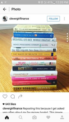 Books to read on money and finances I Love Books, Good Books, Books To Read, My Books, Book Club Books, Book Nerd, Book Lists, Robert Kiyosaki, Tony Robbins