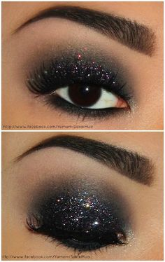 New years makeup. All u need is: black eyeliner, black eyeshadow, dark gray eyeshadow, skin toned eyeshadow, silver eyeshadow, body glitter, false eyelashes and black mascara