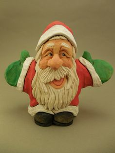 Whimsical Hand Carved Wood Santa by CarvingsbyTony on Etsy, $98.00