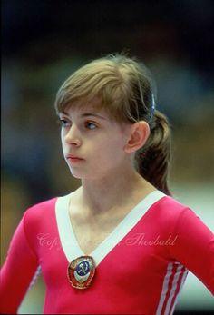 Oksana Omeliantchik of Soviet Union prepares to perform on balance beam at 1985 European Championships in women's artistic gymnastics at Hel...