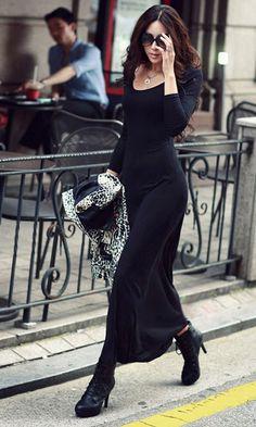 Casual Fashion Round Neck Long Sleeve Long Dress