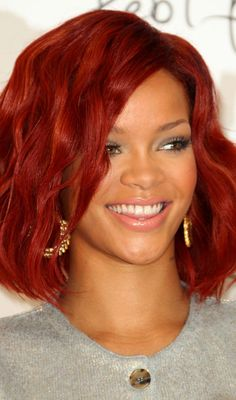 Rihanna Red Long Bob
