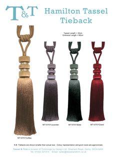 Hamilton Tie backs available from Aspire Design Indoor Hammock Chair, Curtain Tie Backs, Headboards, Hamilton, Tassels, Fabrics, Craft, Tableware, Ideas