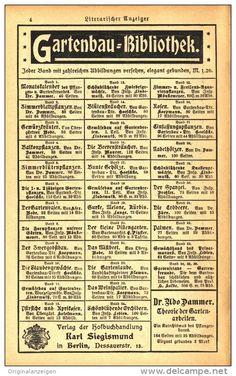 Original-Werbung/Inserat/ Anzeige 1905 - GARTENBAU-BIBLIOTHEK / KARL SIEGISMUND BERLIN  -  ca. 90 X 160 mm
