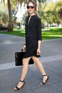 Emerson Fry - Bib Shirt Dress in black Shirtdress Outfit, Love Fashion, Girl Fashion, Womens Fashion, Casual Chic, Camisa Formal, Office Fashion, Ideias Fashion, What To Wear