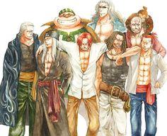 ONE PIECE, Fan art, Red Haired Pirates, Shanks, Benn Beckman, Lucky Roux, Yasopp