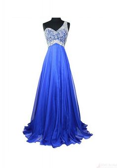 2016 Prom Dresses-Brand New Sexy Beading One Shoulder Floor Length Chiffon Prom Dresses Party Evening Dresses