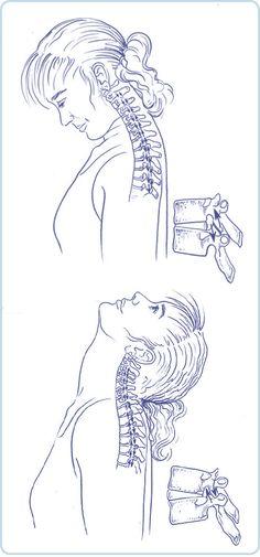 Bending neck spine, look up