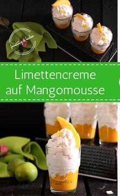 Fruchtig und lecker ist diese Limettencreme auf der Basis von Frischkäse, Quark & Sahne auf einem reinen Mangomousse. Die Kombination ist perfekt für den Sommer und das schnelle Dessert ist einfach gemacht und schon steht der Nachtisch auf dem Tisch. Perfekt auch als Tortenfüllung für einen naked cake oder eine Fondanttorte (diese aber noch mit Buttercreme etc. ummanteln). Das Rezept hierfür gibt es auf meinem Blog mit Schritt für Schritt Anleitung.