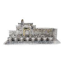 Silver Plated Jerusalem Menorah with Golden Highlights: Hanerot Halalu