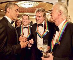 President Obama Hanging Out With Led Zeppelin's John Paul Jones, Robert Plant, And Jimmy Page... Led Zeppelin Were Honorees At The 35th Annual Kennedy Center Honors In Washington, DC 2012.