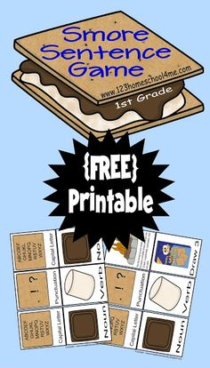 {free} Printable Smore Sentence Games! Ages K-2nd Grade #homeschool