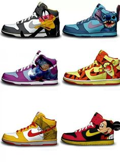 Awesome Disney Character Nike Dunk Premium By Brass Monki. Especially Eeyore! Boy Shoes, Me Too Shoes, Kicks Shoes, Shoes Sneakers, Dolce & Gabbana, Bo Jackson Shoes, Image Nike, Disney Pixar, Nike Shoes For Sale