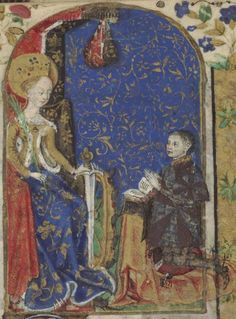 15th century (1425-1450) France  Austin, University of Texas at Austin, Harry Ransom Humanities Research Center  HRC 008 - Belleville Hours  fol. 51r - St Catherine with donor (of Belleville family)    http://app.cul.columbia.edu:8080/exist/scriptorium/individual/TxAuHRH-10.xml?